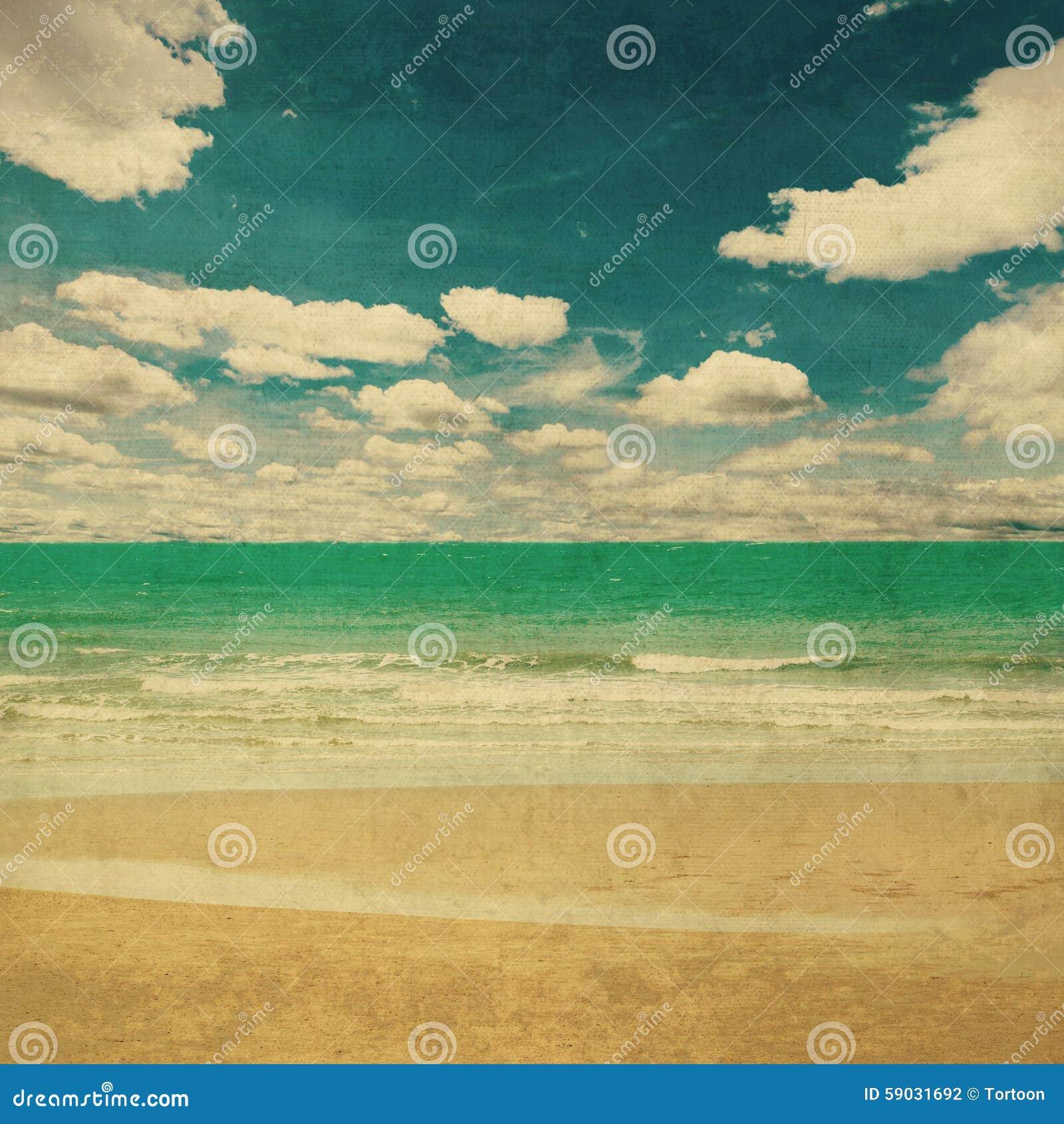 Vintage Beach Background Stock Photo 112981333: Beach Sea And Grunge Canvas Texture Vintage Stock Photo