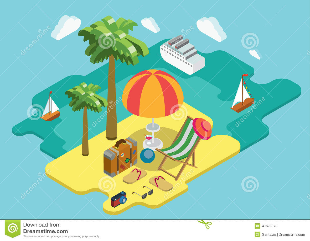 Beach sea ocean cruise summer vacation flat 3d isometric for 3d flat design online