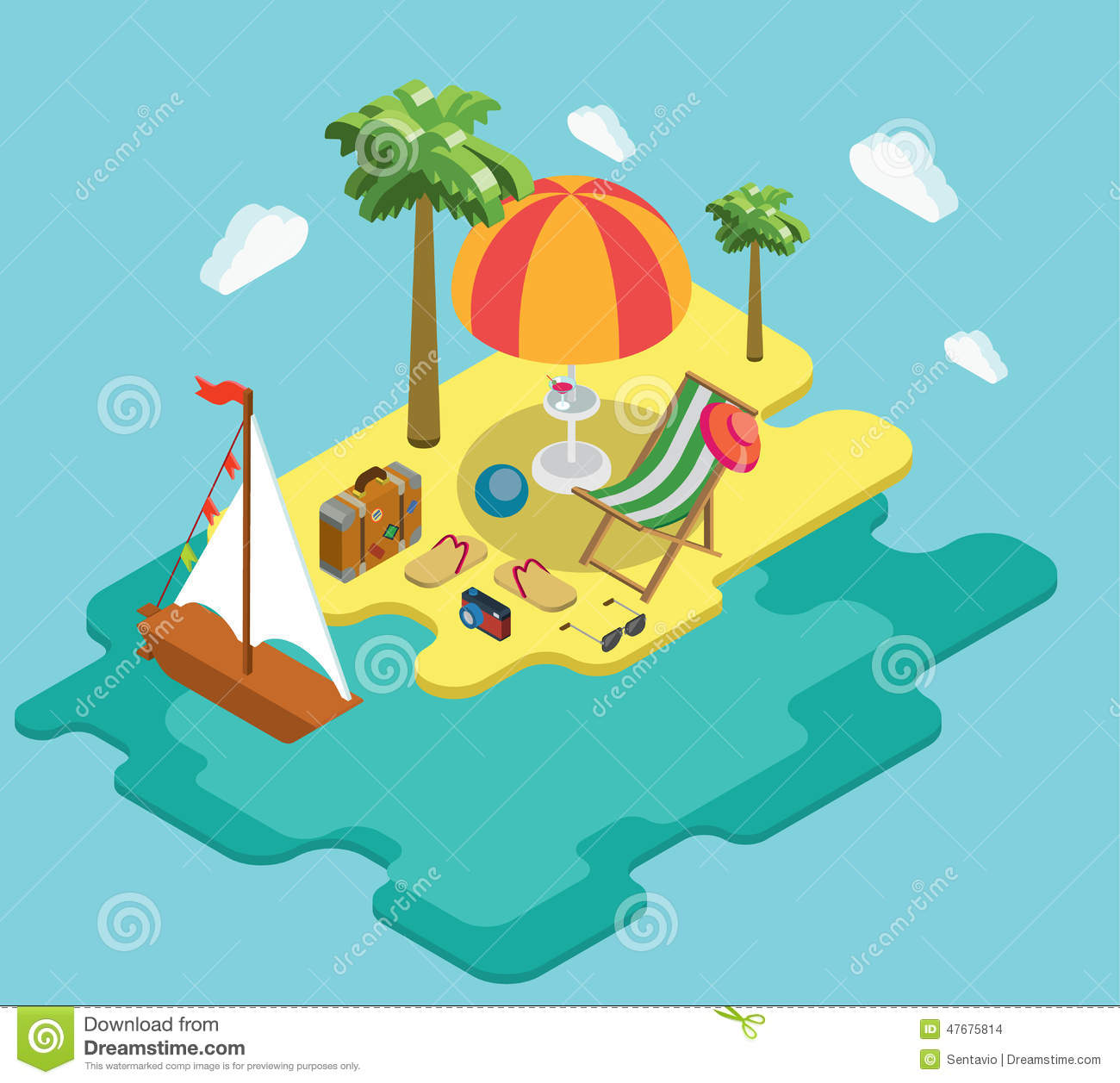 Beach sea ocean yacht summer vacation flat 3d isometric for 3d flat design online