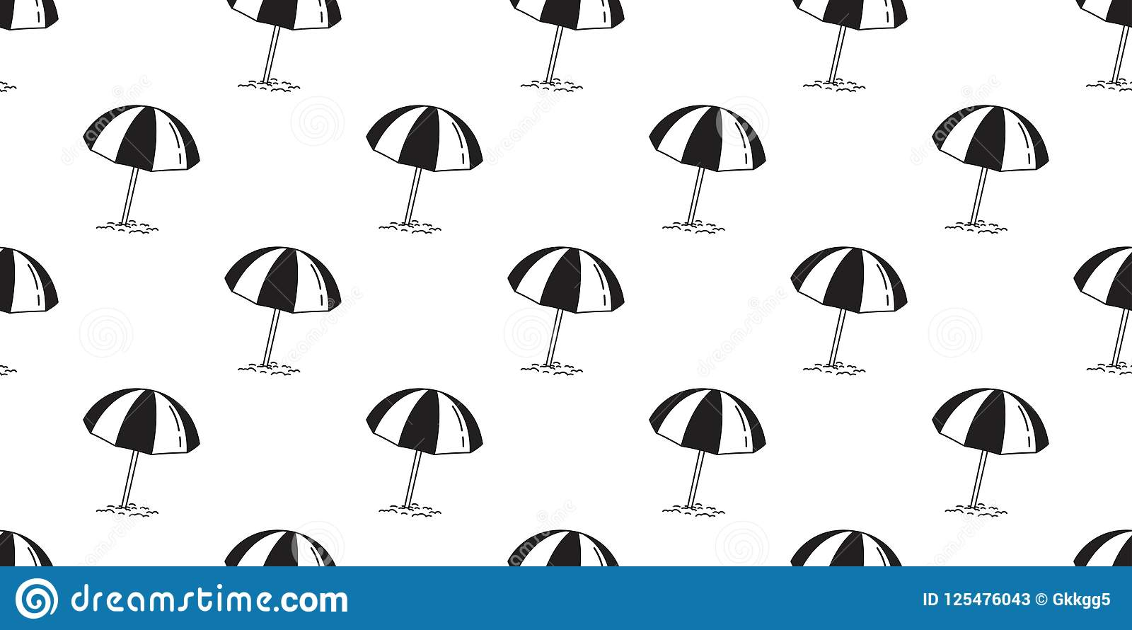 Beach Seamless Pattern Vector Umbrella Isolated Summer Sea Ocean Wallpaper Repeat Background Illustration Doodle Cartoon
