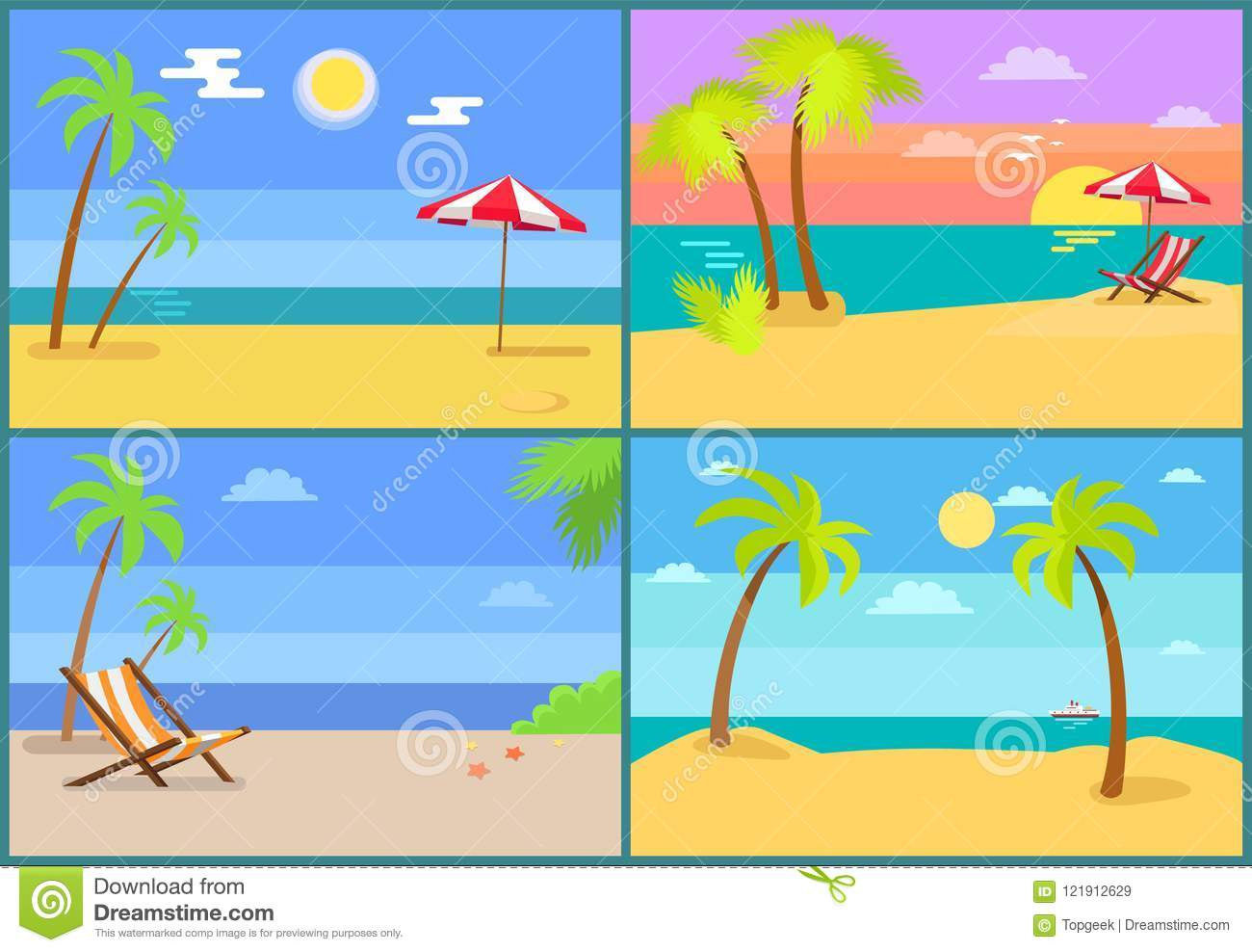 Beach and Seascapes Collection Vector Illustration