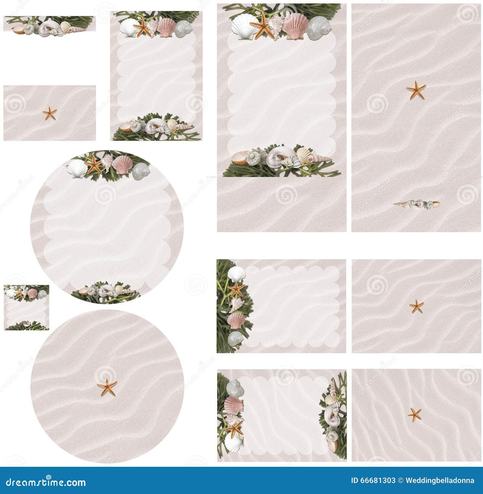 Beach Theme Card Stock: Beach Seashell And Seaweed Theme In Pink Sand Wedding