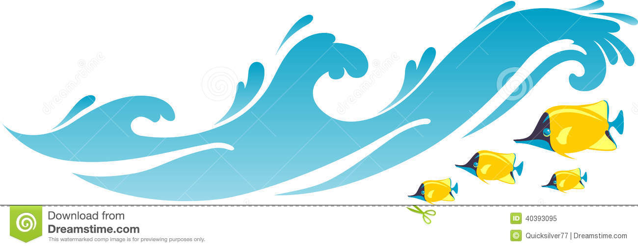 Beach seawater waves and fishes stock illustration for Clipart mare