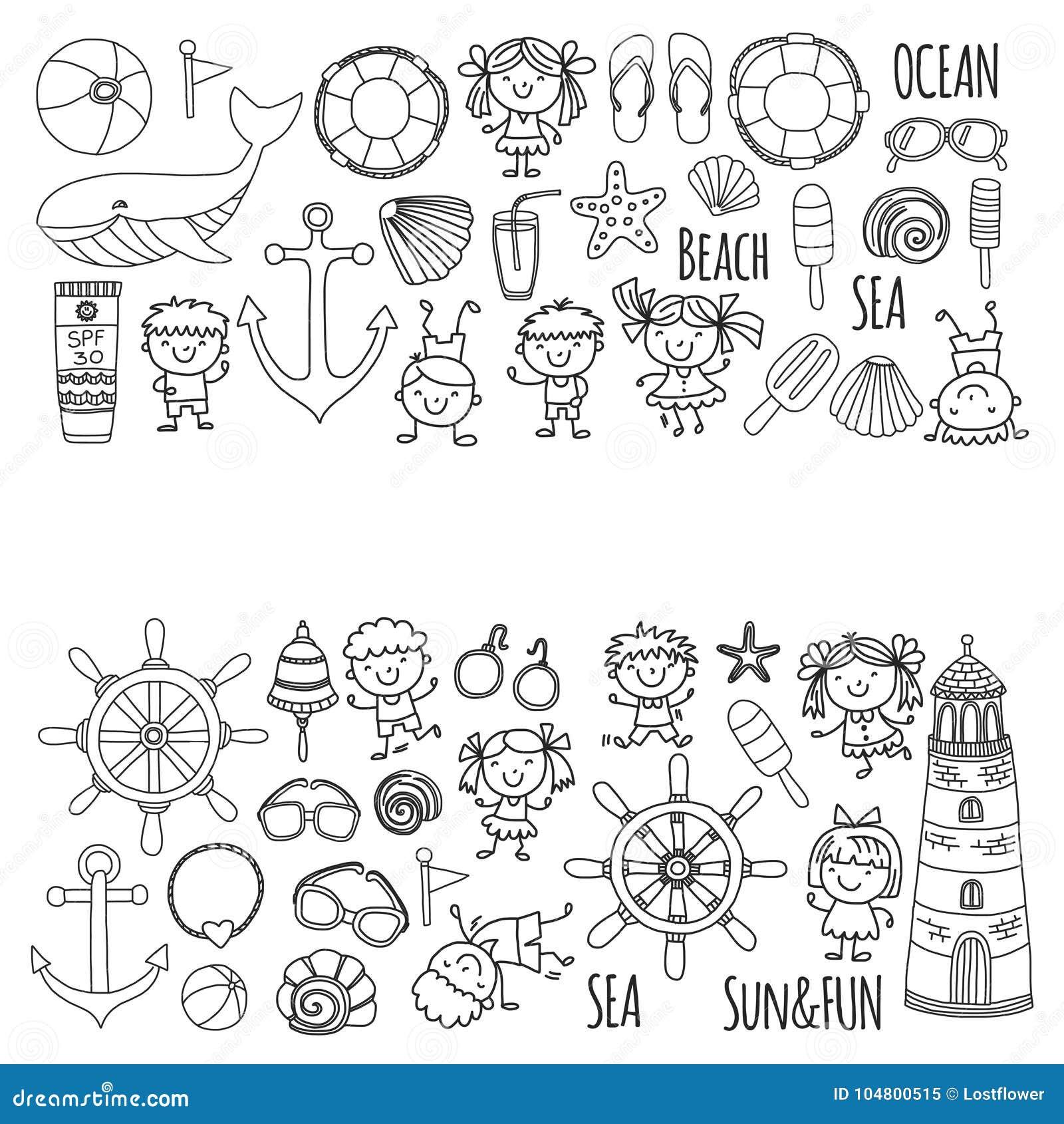 Coloring Page Beach Set With Children Kindergarten Or School ...