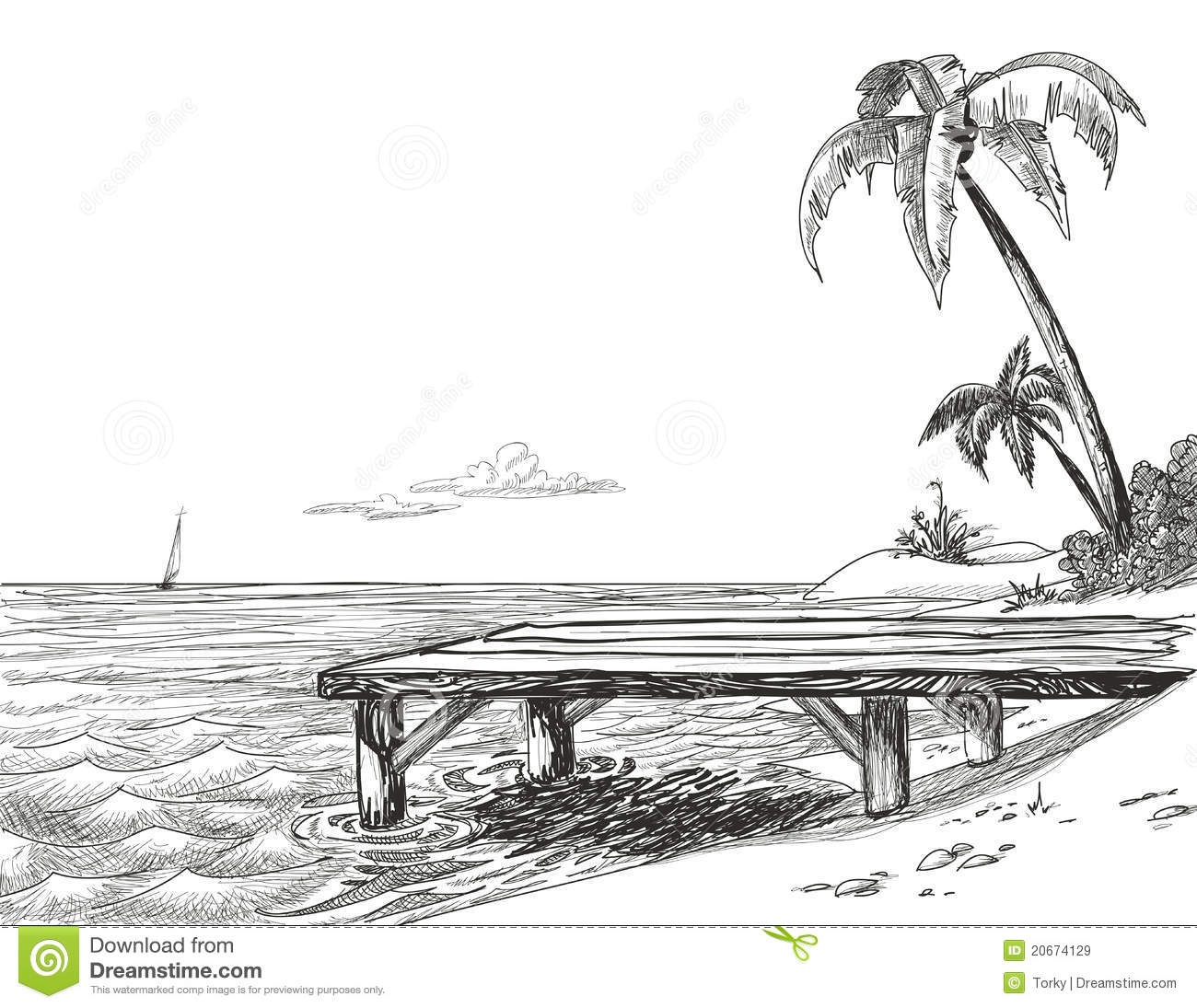 Beach Sketch Royalty Free Stock Images - Image: 20674129