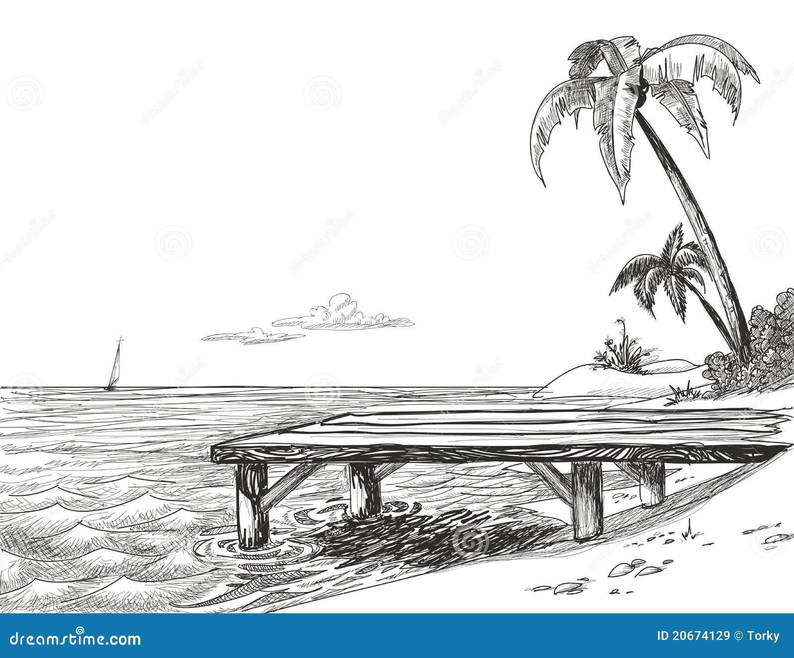 Beach Pencil Drawing