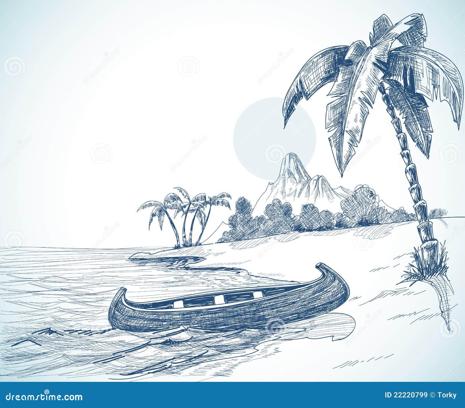 Beach sketch stock vector. Illustration of illustration ...