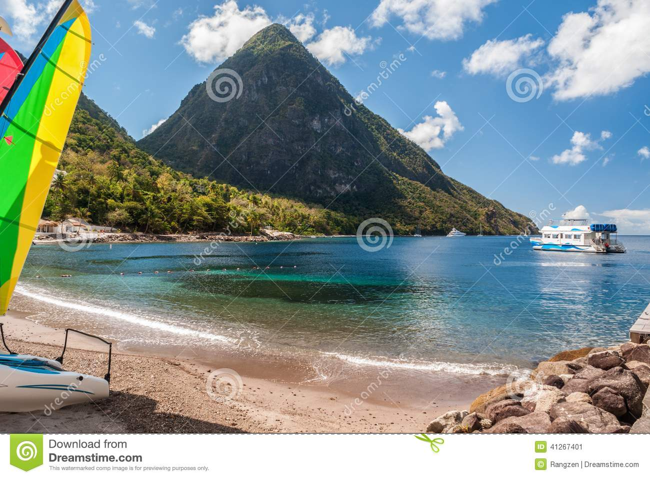 beach on st lucia stock image 41267401. Black Bedroom Furniture Sets. Home Design Ideas