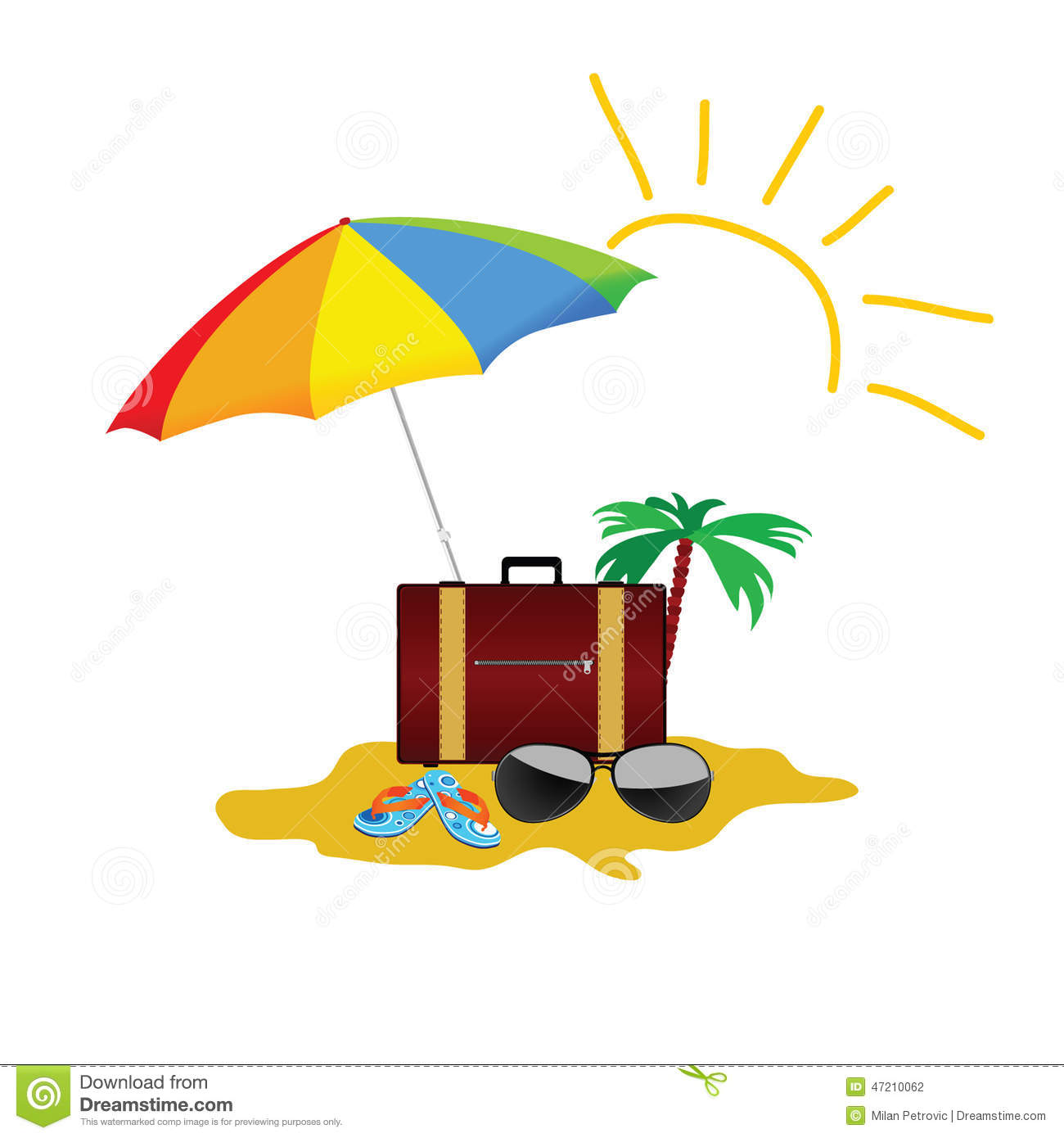 Beach Stuff Color Vector On A White Background Stock Vector ...