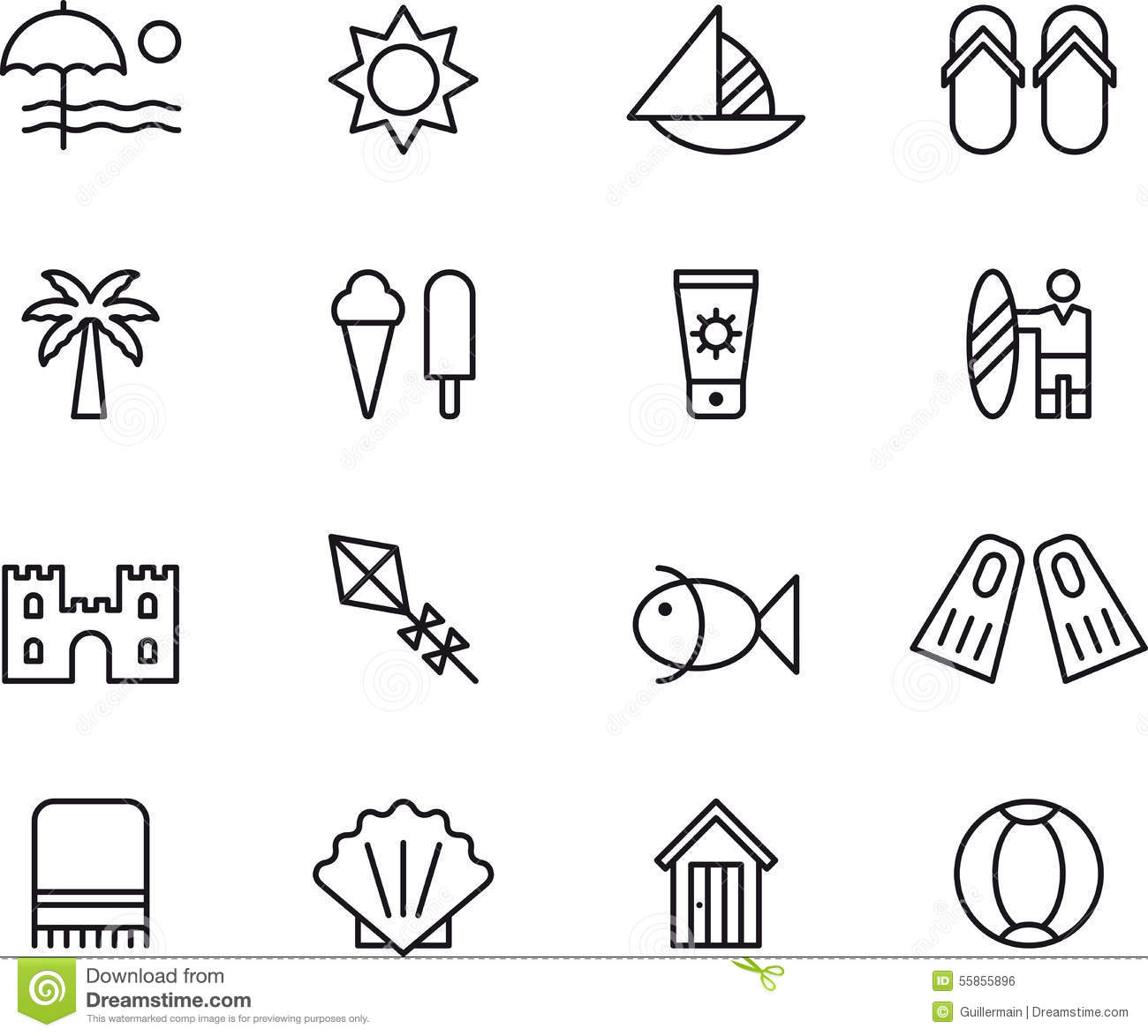 beach and summer icons stock vector illustration of frozen 55855896 dreamstime com