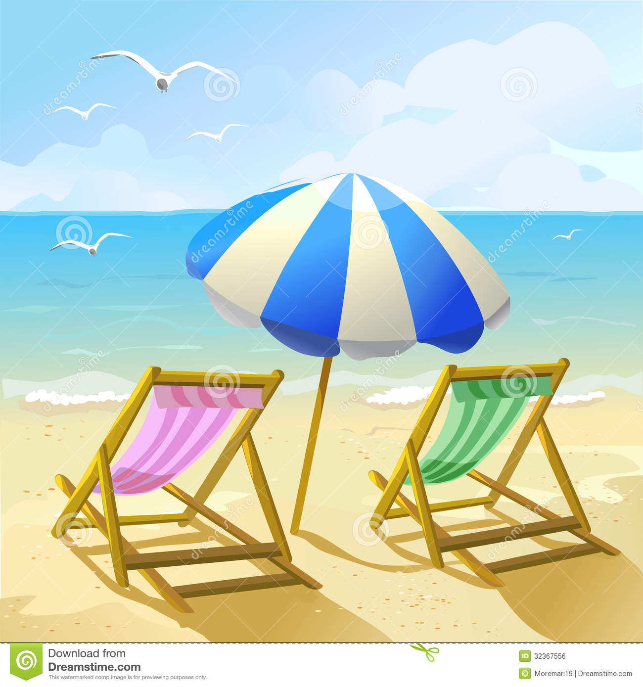 Beach With Sun Umbrella And Two Lounge Chairs
