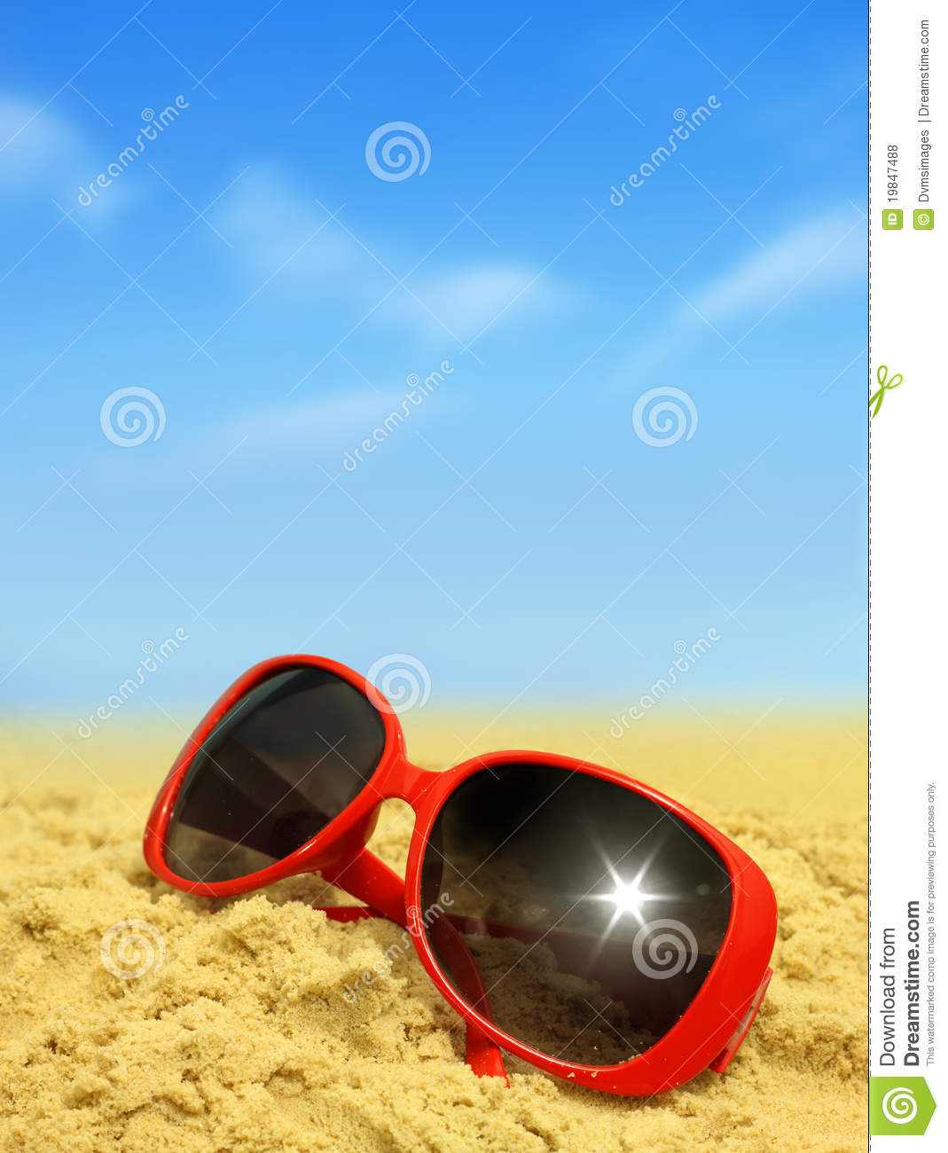 Beach And Sunglasses Stock Photo. Image Of Reflection
