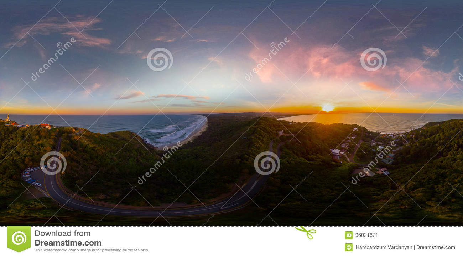 Beach Sunrise 360 Degree Vr Panorama Stock Image - Image of