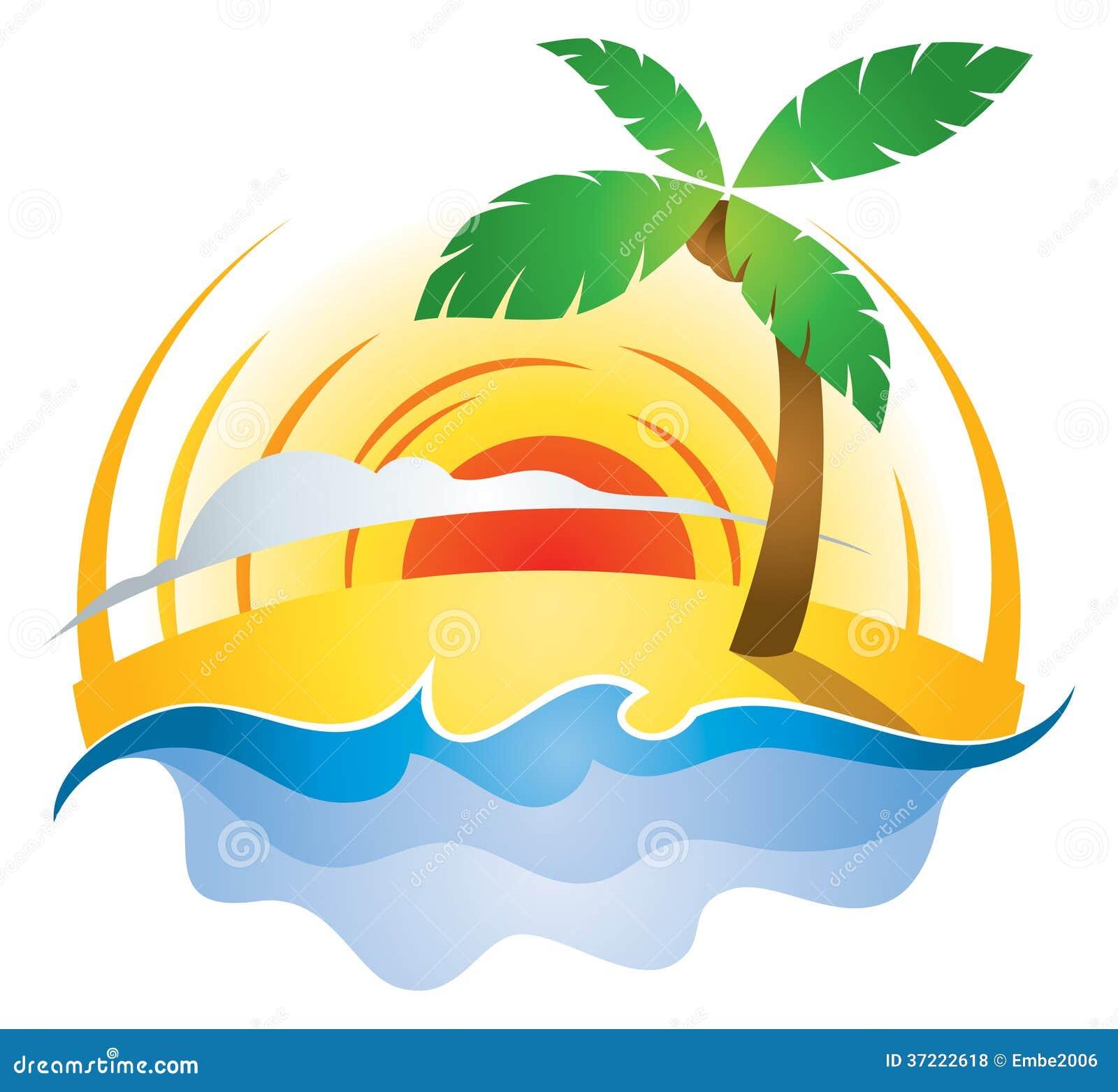 Beach Sunset Logo Stock Vector Image Of Paradise Coconut