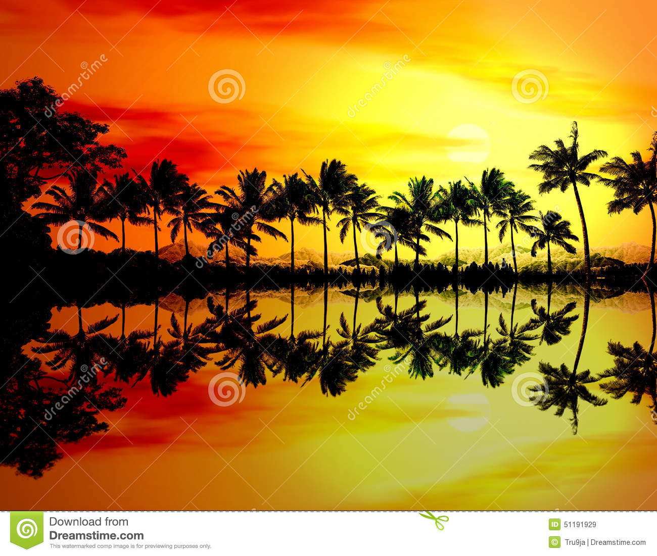 Beach Sunset Or Sunrise With Tropical Palm Trees Stock