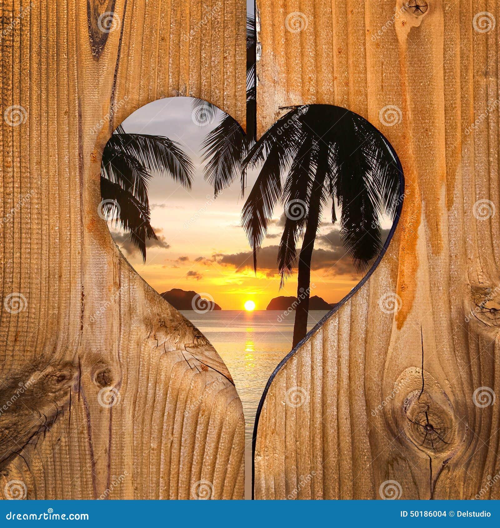Beach Sunset In A Wooden Heart