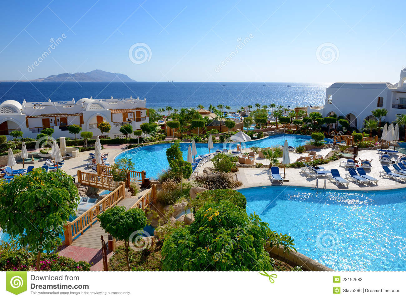 Swimming Pools At The Luxury Hotel Royalty Free Stock