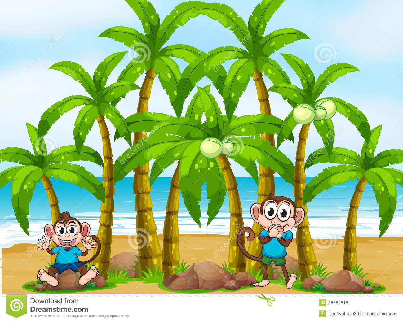 A beach with tall coconut trees