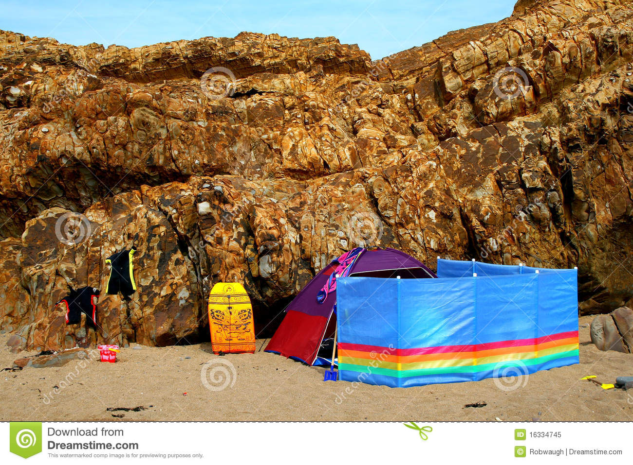 Beach Tent With Colourful Windbreaker And Wetsuits Royalty ... - photo#39