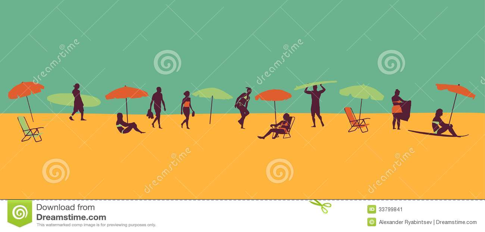 Beach Theme Illustration In Vintage Style Stock Image ...