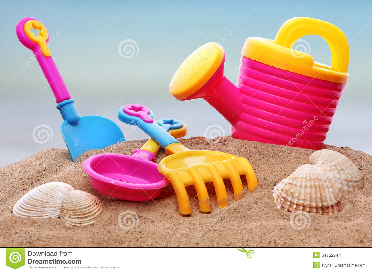 Toys For Beach : Beach toys stock photo image of pink colour shell