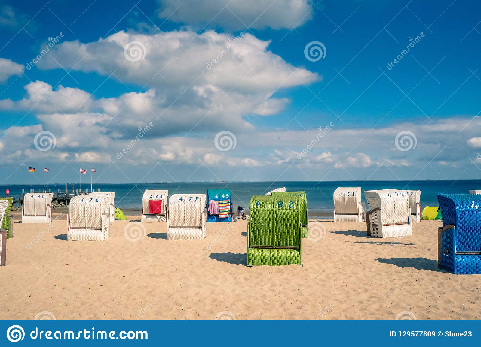 Beach with a traditional seats on the German North Sea island