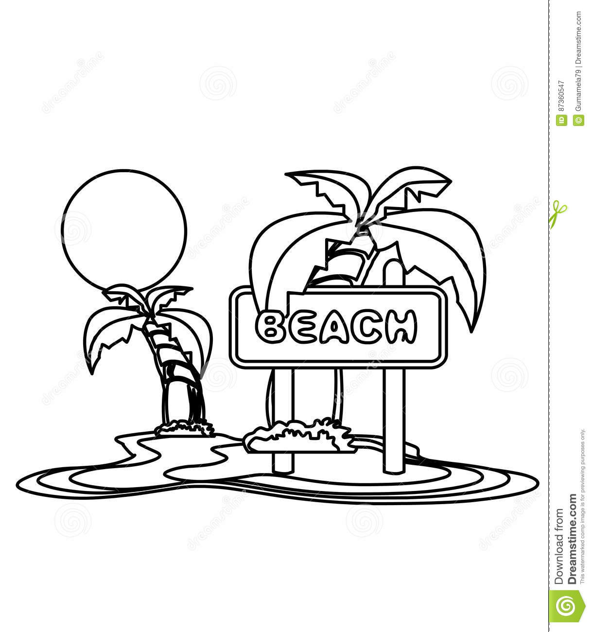 Beach With Trees Over Sunset Coloring Page Stock Illustration ...