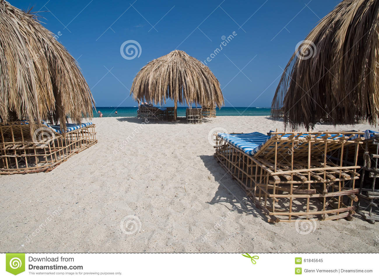 Tropical Beach Huts: Beach With Tropical Cabana Hut With Palm Leaves Stock