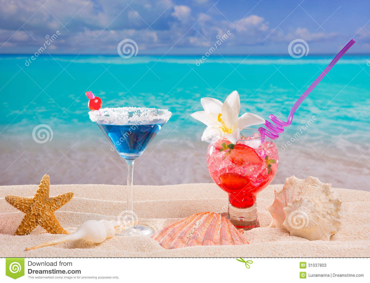 Stock Photos: Beach tropical red and blue cocktail on caribbean white ...