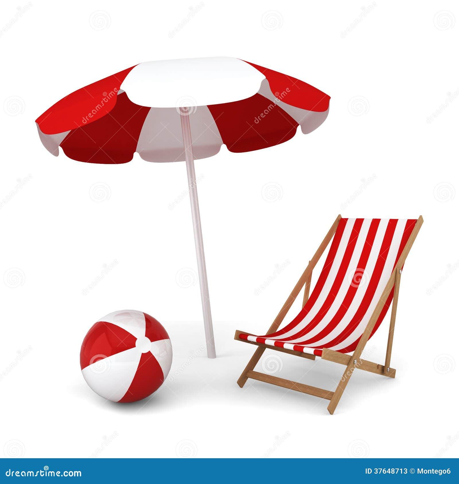Beach chair with umbrella - Beach Umbrella Chair And Ball Stock Photos