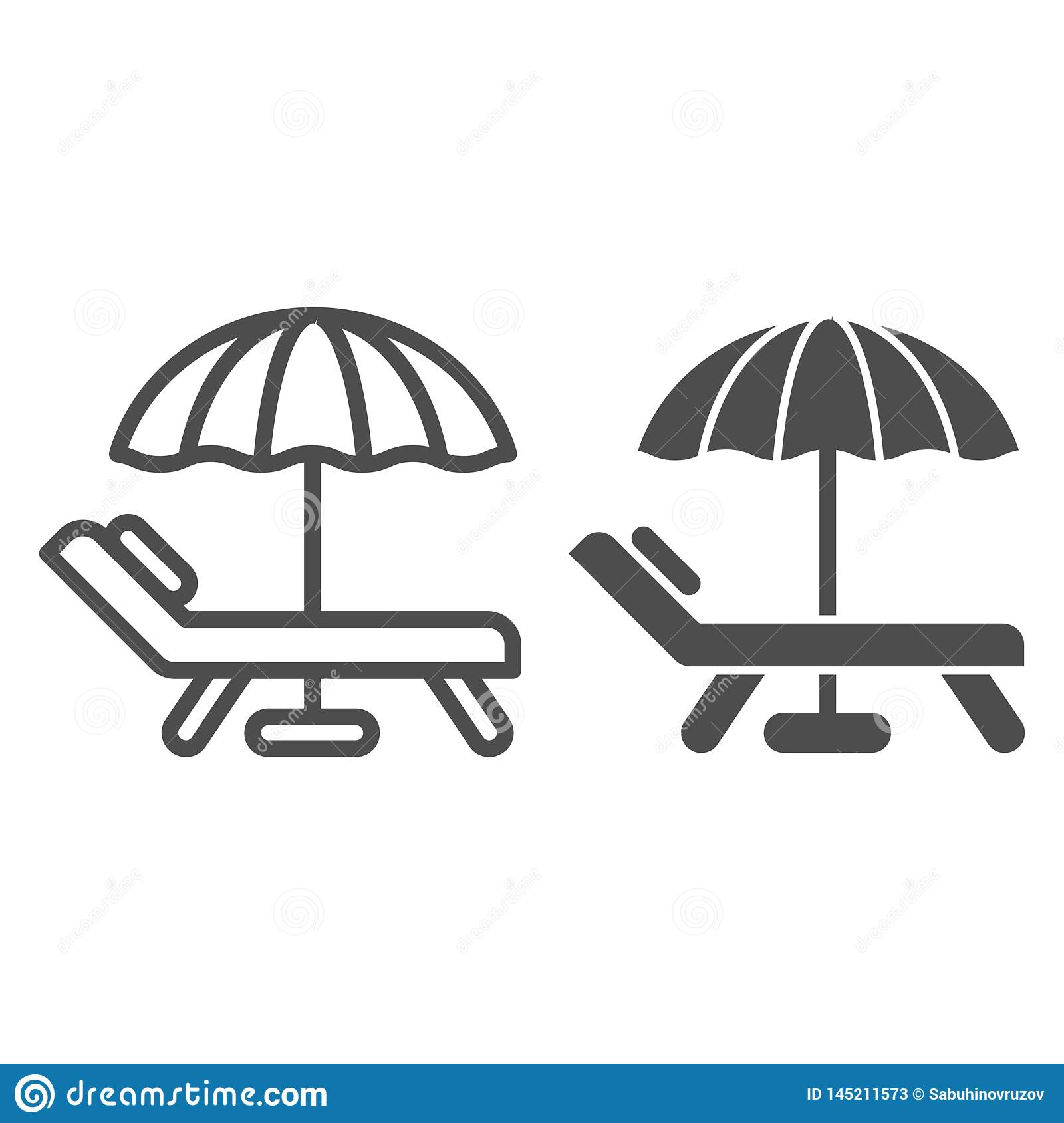 Beach umbrella and chair line and glyph icon. Vacation vector illustration isolated on white. Travel outline style