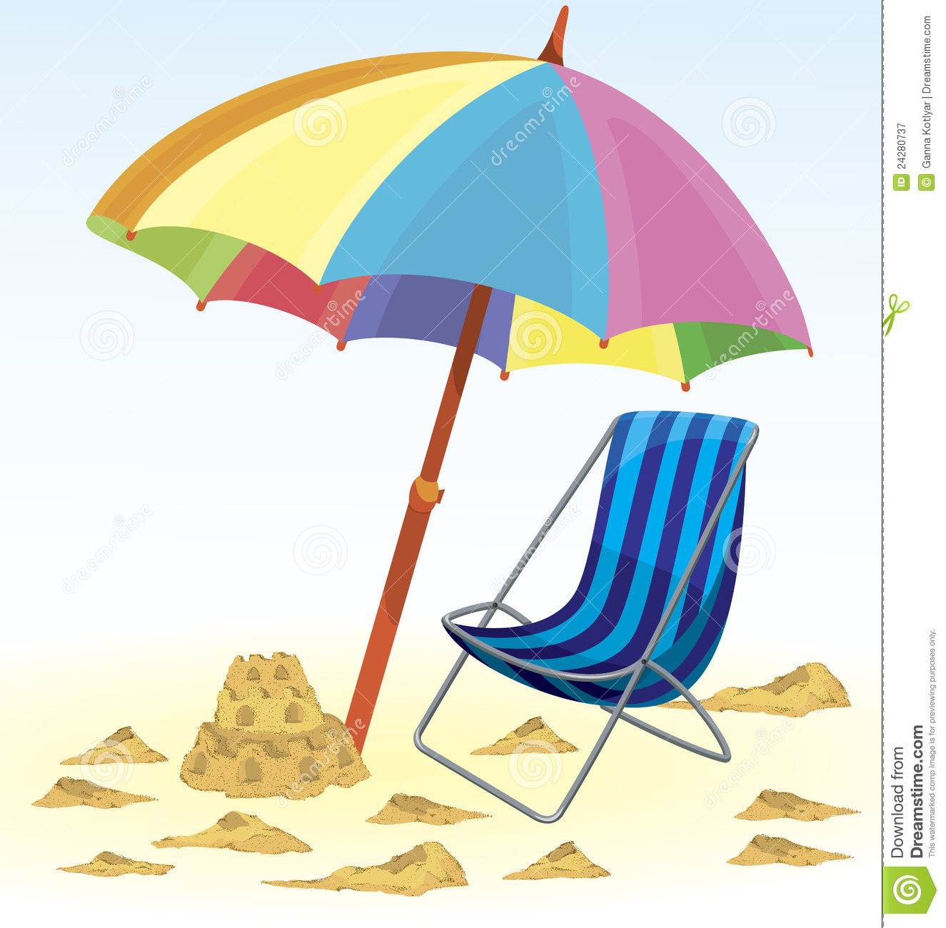 Beach Umbrella Chair Sand Castle Royalty Free Stock Photography ...