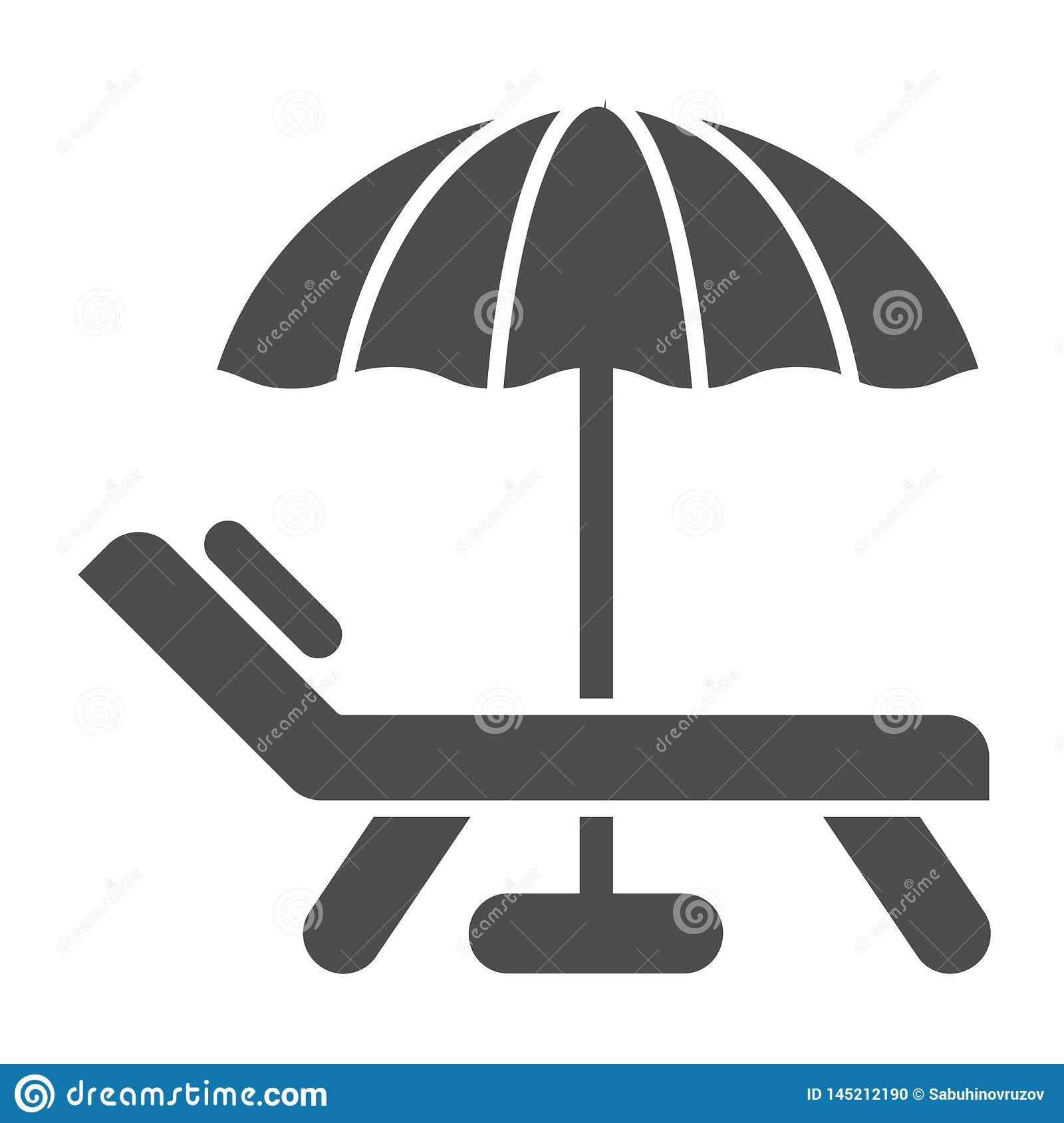 Beach umbrella and chair solid icon. Vacation vector illustration isolated on white. Travel glyph style design, designed