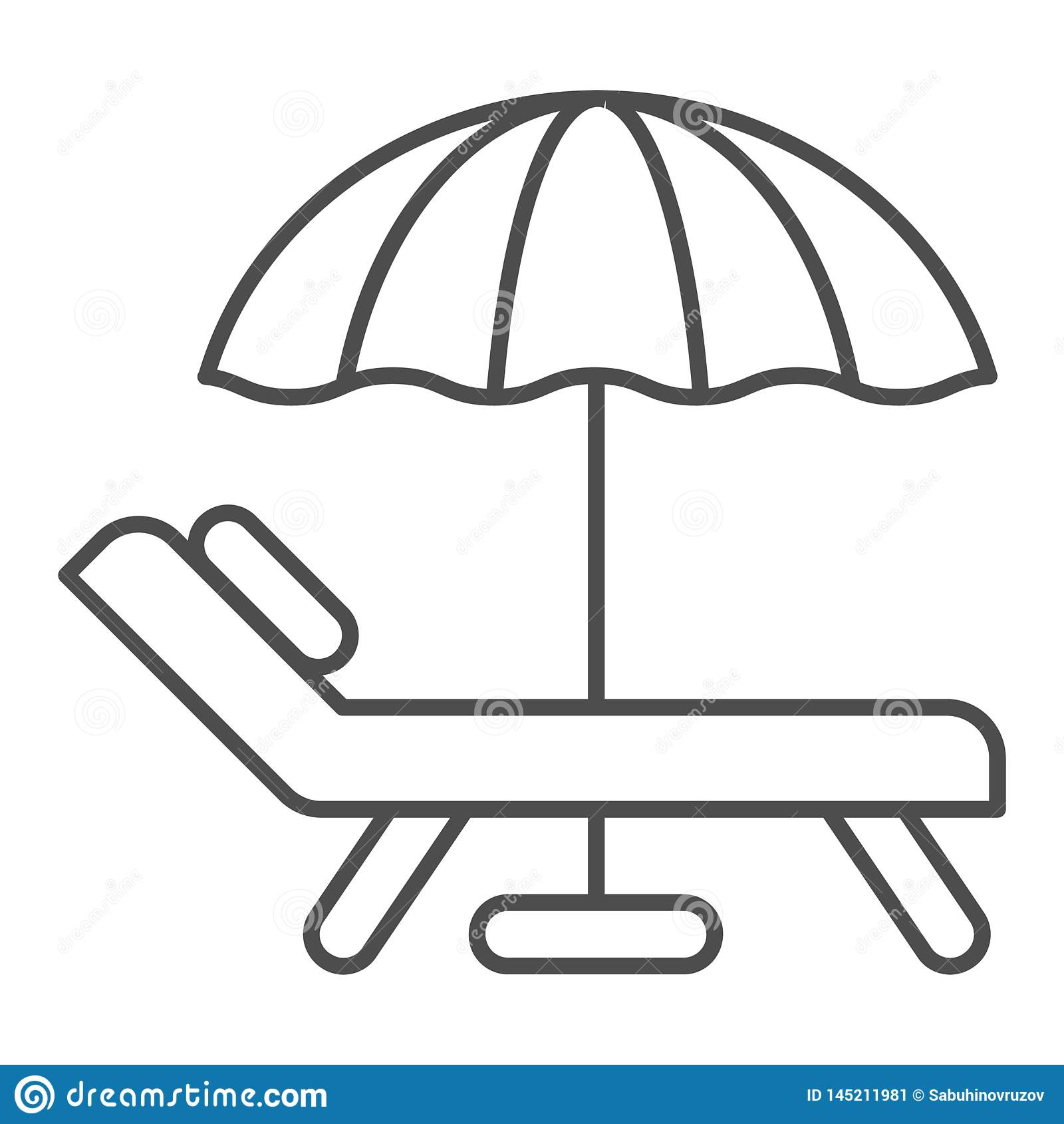 Beach umbrella and chair thin line icon. Vacation vector illustration isolated on white. Travel outline style design