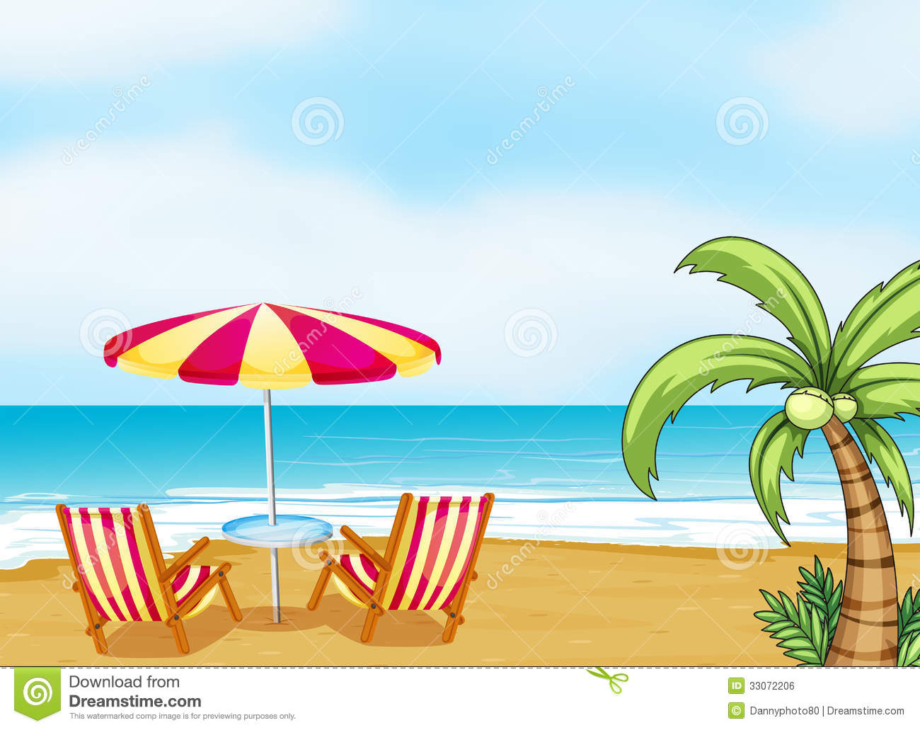 the beach with an umbrella and chairs stock vector - illustration of
