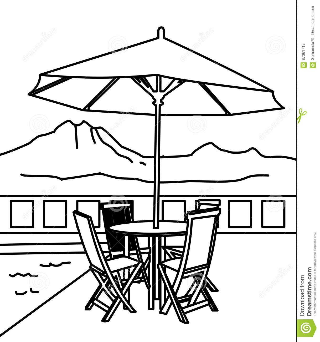 beach umbrella and table coloring page stock illustration image