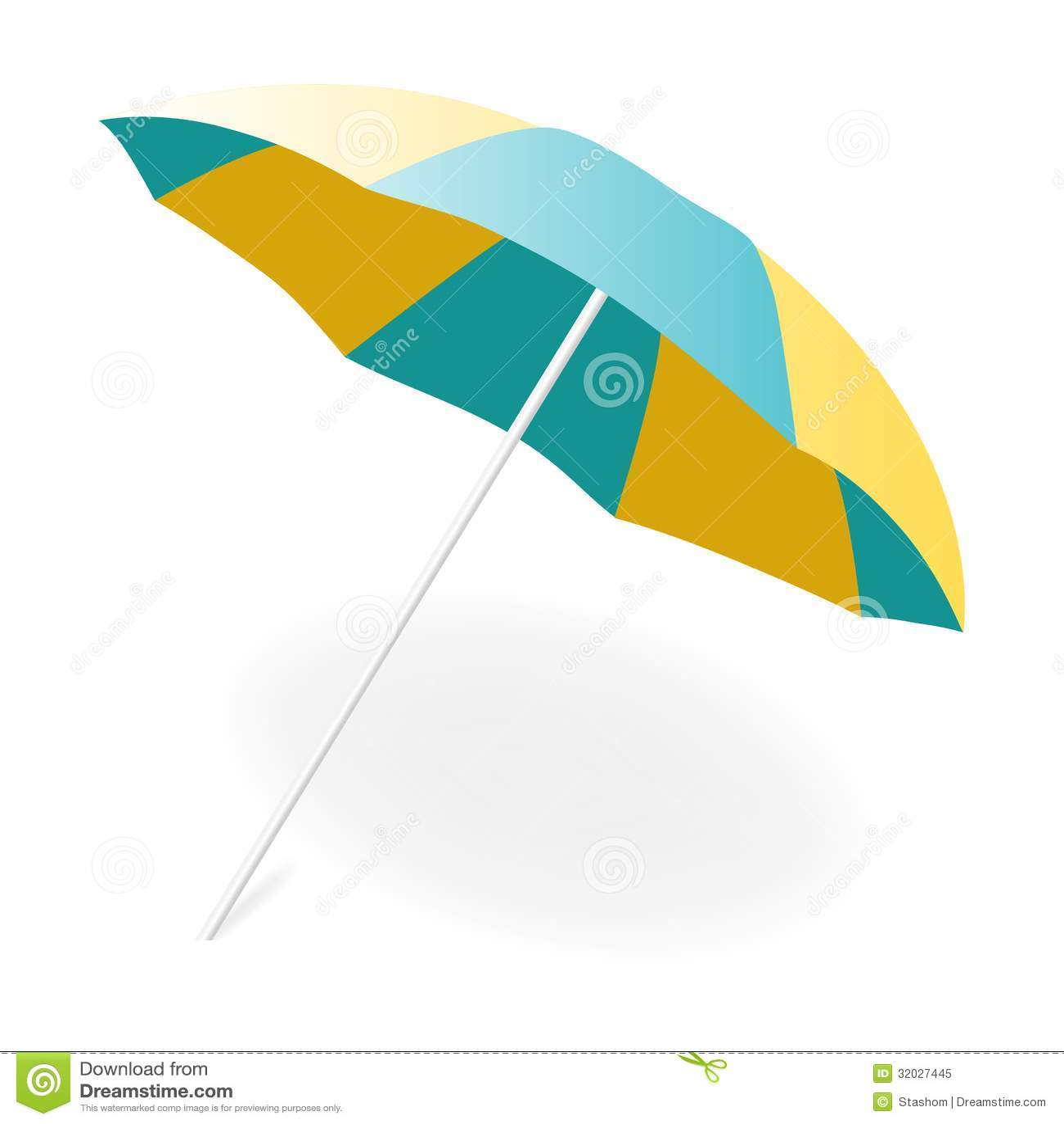 Beach chair with umbrella painting - Beach Umbrella Vector Illustration Royalty Free Stock