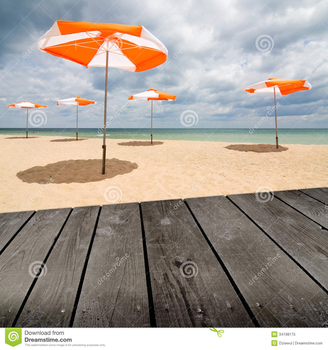 Wood Floor On Beach Sea And Blue Sky For Background Stock: Beach Umbrellas On The White Sand And Empty Wooden Deck