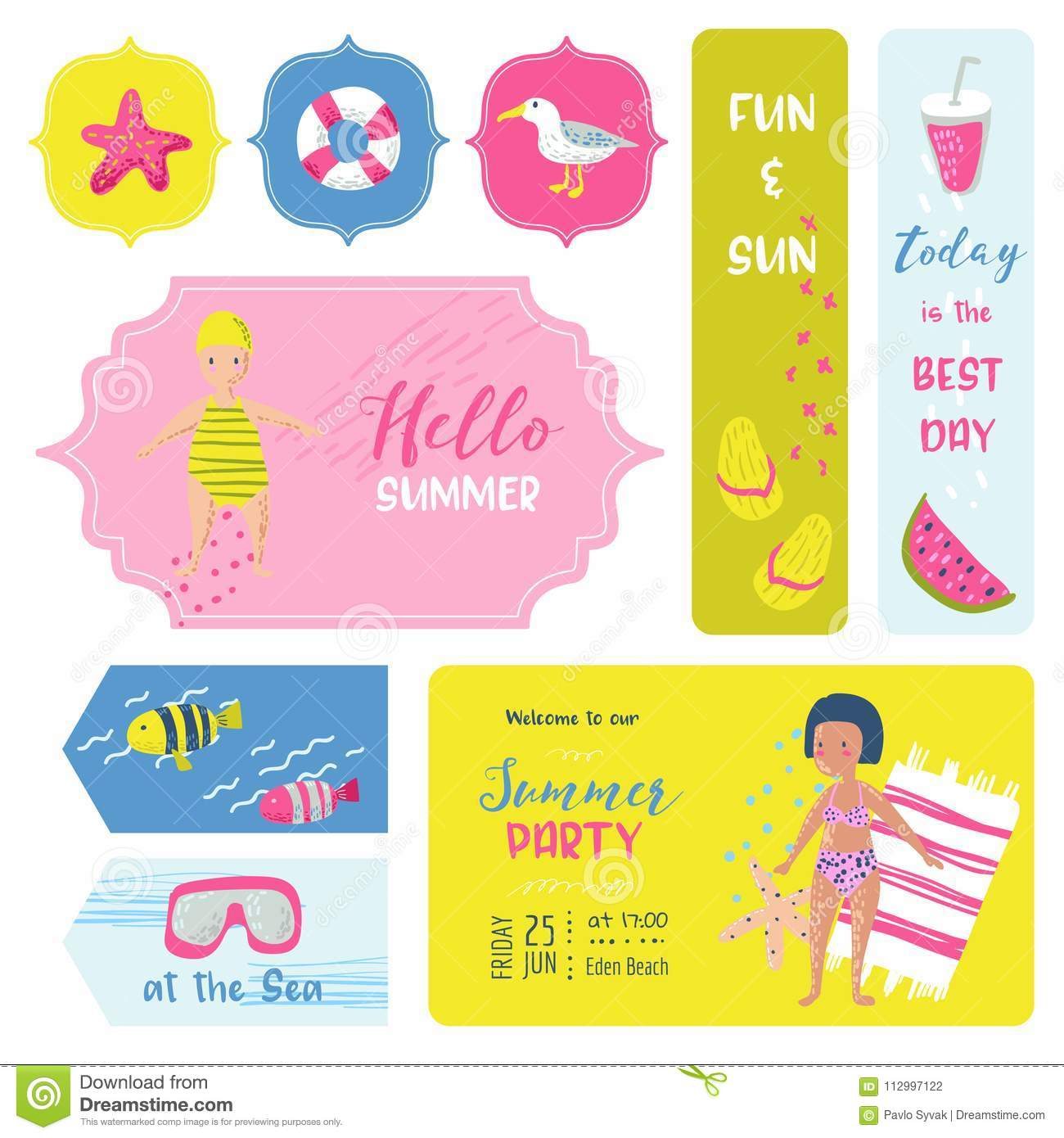 Beach Vacation Childish Tags, Fabric Badges, Stickers