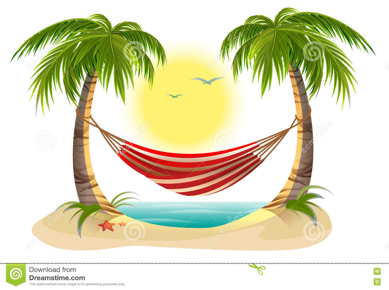 beach vacation hammock between palm trees stock vector image