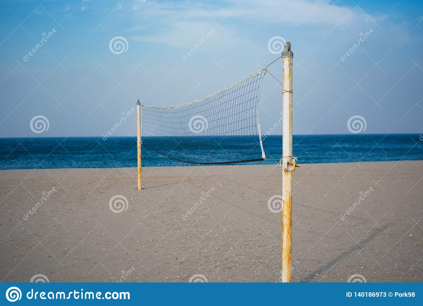 Beach volleyball net on a sands beach