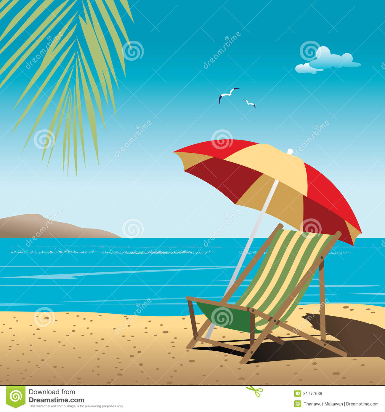 Beautiful Vintage Summer Seaside Illustration Royalty Free: Beach Vector Royalty Free Stock Images