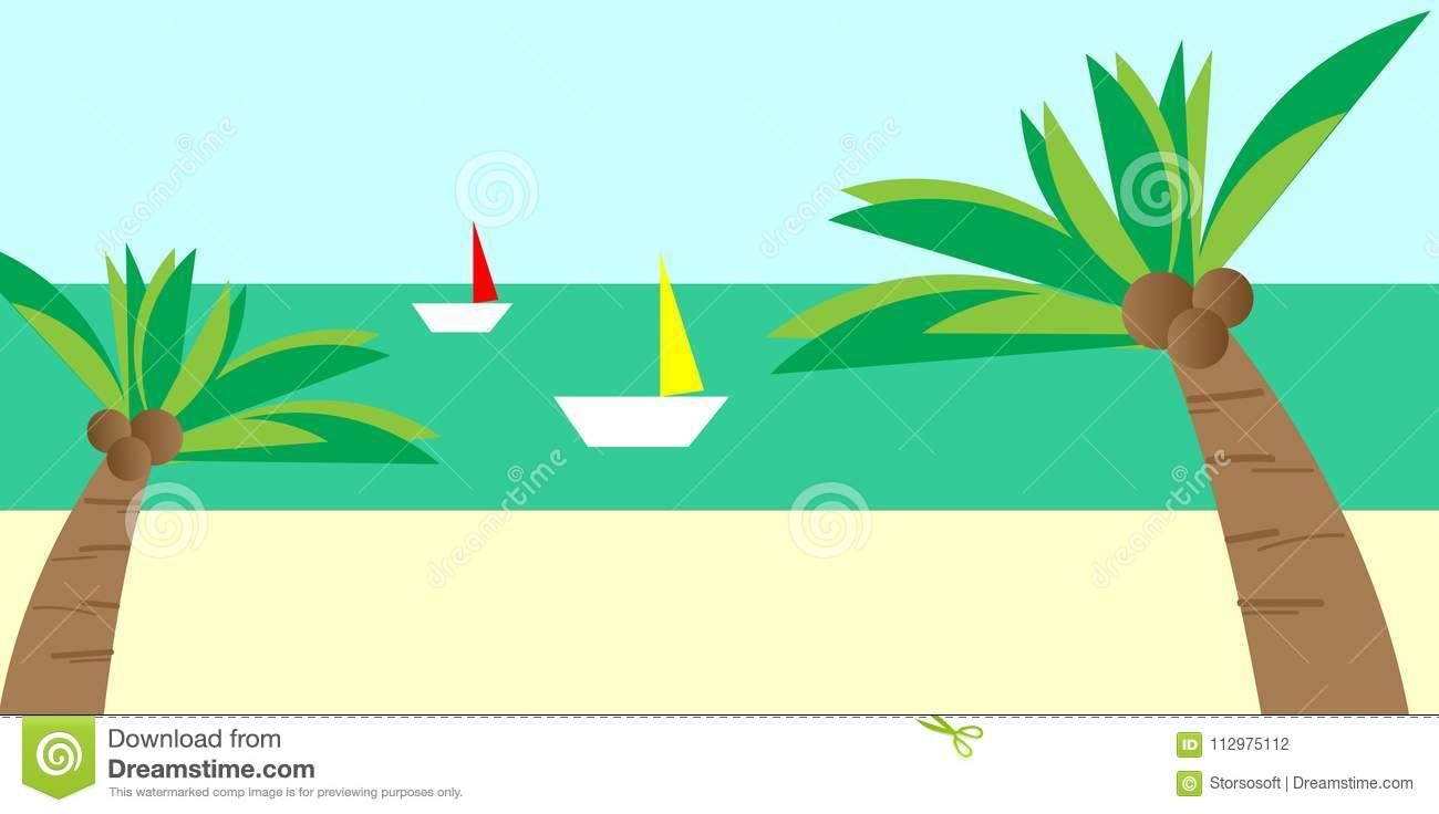 Beach view with coconut trees and boats vector background