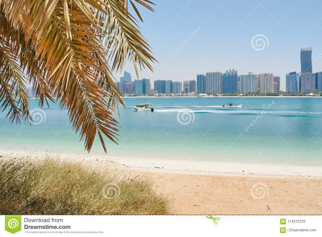 Beach view on abu dhabi skyline