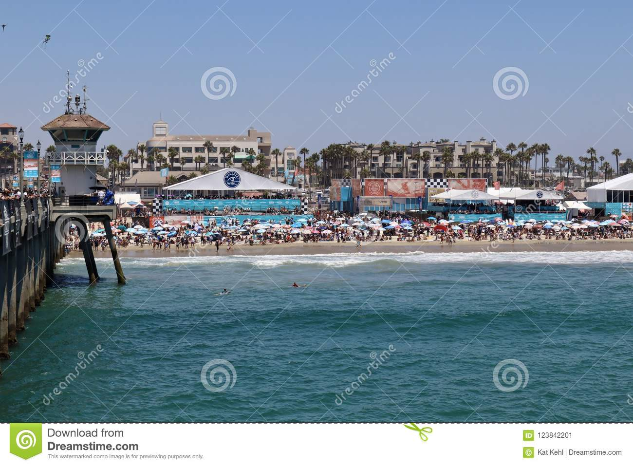 57cc60a212 Beach view of the Vans US Open of Surfing 2018 July and August in Huntington  Beach