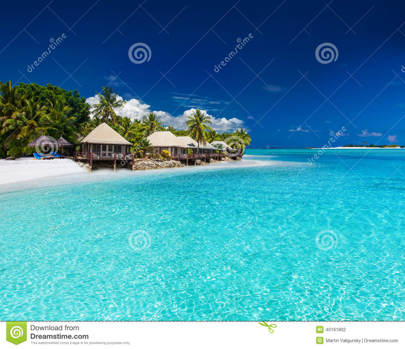 Beach Island: Beach Villas On Small Tropical Island Stock Photo