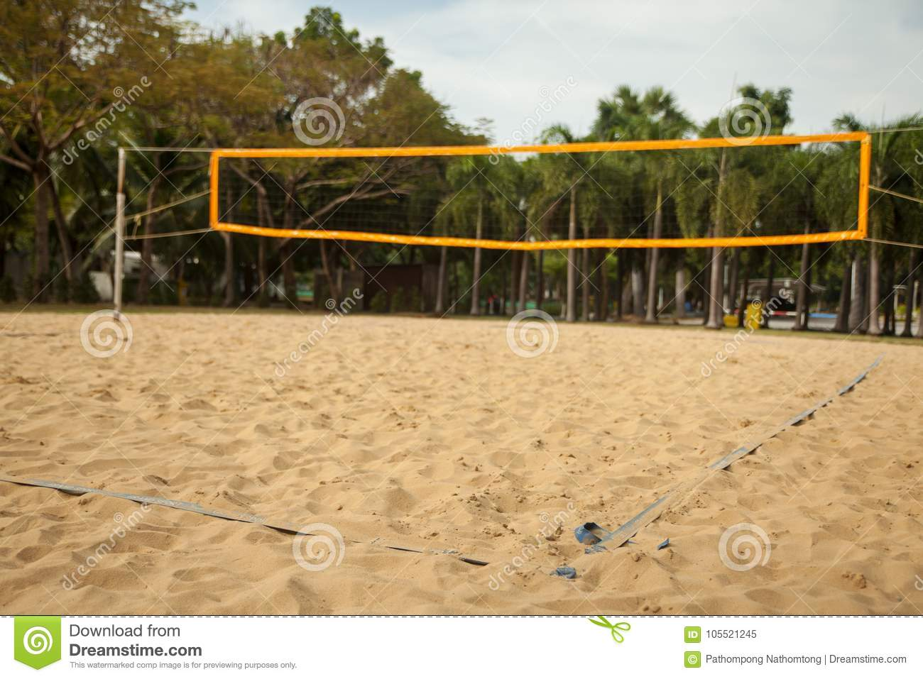 Beach Volleyball Court With Lines Stock Image Image Of Game Coastline 105521245