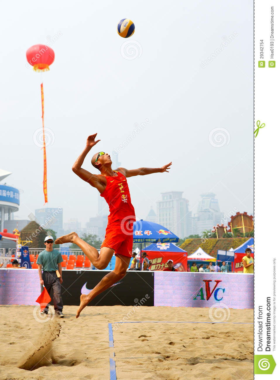 Beach Volleyball Jump Serve Editorial Stock Image Image