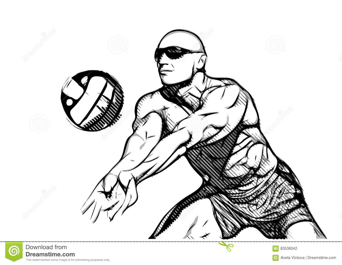 Abstract Design Of A Beach Volleyball Player Vector Image: Beach Volleyball Player In Action Stock Vector