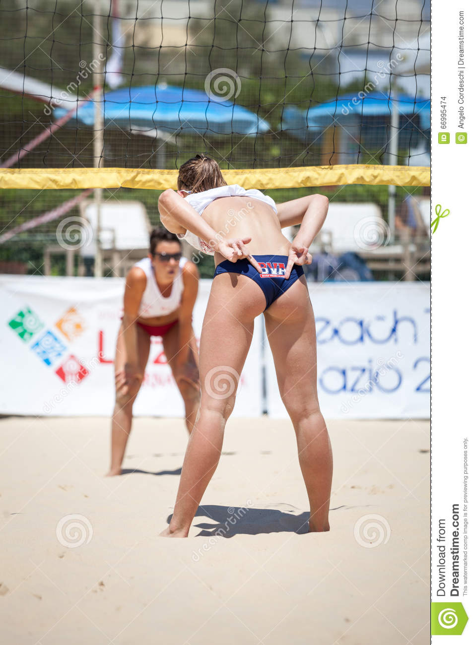 beach volleyball player woman  back tactics editorial stock image